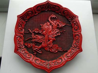 Chinese Figure on Red Dragon Plate Decorative Modern after Cinnabar Original