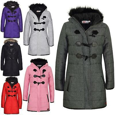 Kids Coat Girls Fleece Padded Parka Jacket Long Faux Fur Hooded Coats 7-13 Years