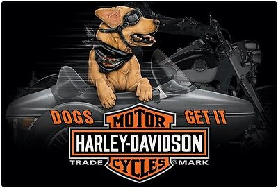 "Harley Davidson ""Side Dog"" Embossed Enamel Tin Metal Sign Motorcycle 097"