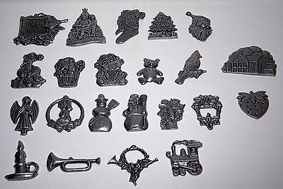 LOT 22 Vintage Carson Pewter Christmas Ornaments- Angel, Train, Cardinal, Puppy+