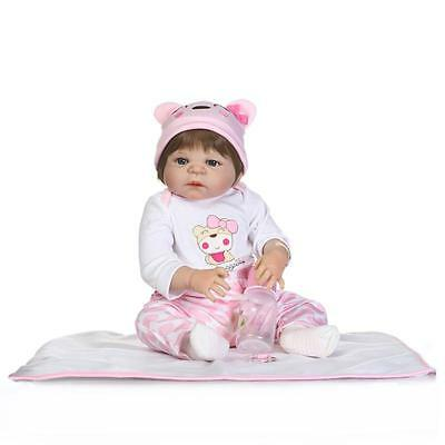 "Newborn 23"" Handmade Lifelike Baby Girl Doll Reborn Full Body Silicone Vinyl New"