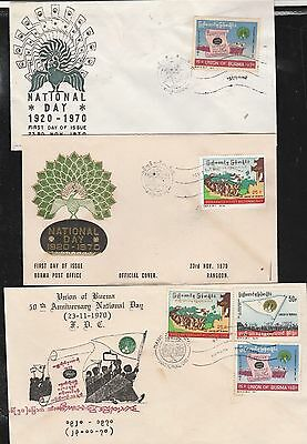 Burma FDC 1970 ISSUED 3-NATIONAL DAY COMMEMORATIVE, RARE