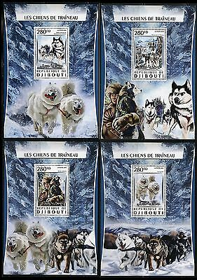 Djibouti 2017 Sled Dogs Set Of Four  Souvenir Sheets   Mint Nh