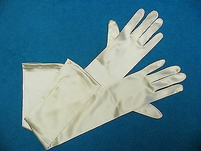 #G48 Ivory Shiny Satin Formal Bridal GLOVES  - 23 inches long - Opera length