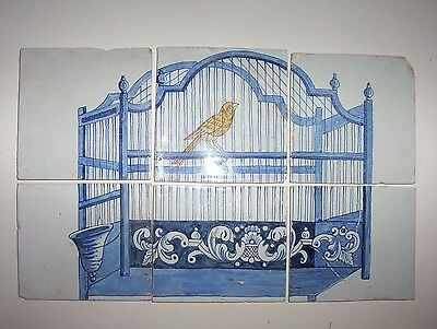 Set of 6 Eighteenth / Nineteenth century Delft Tiles  Bird Cage Blue