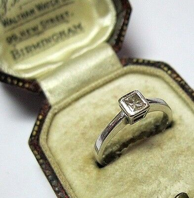 Lovely 9ct White Gold .15ct Diamond Princess Cut Solitaire Engagement RING L 6