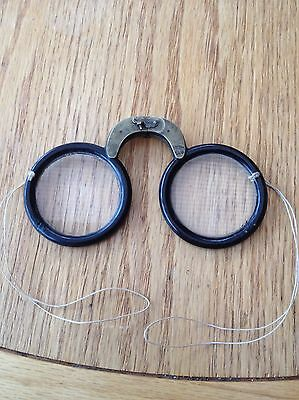 c1800 Chinese Armless Glass Reading Spectacles Wood Rimmed