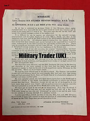 WW1 JULY 1st 1916 SOMME,GEN HUNTER-WESTON MSG TO OFFICERS & MEN OF VIII CORPS