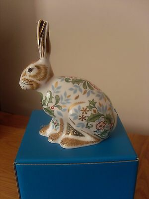 """Royal Crown Derby Paperweight """"winter Hare """" Brand New In Box 1St Quality."""