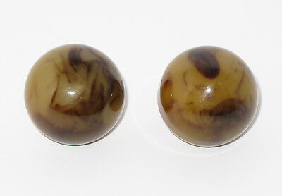 Vintage Bakelite clip on Earrings rare custard toffee marble round heavily domed