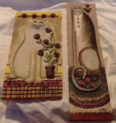 Set of 2 E.Smithson 3-D Sculptured CAT Wall Plaques Artist Signed