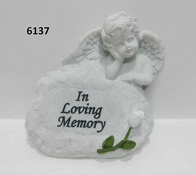Angel Stone Marble Effect Memorial Grave Ornament Cemetery Ornament