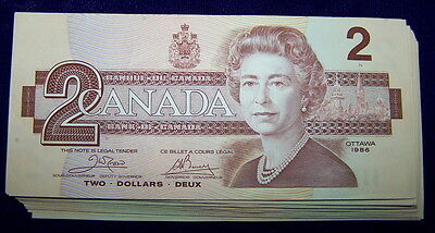 BANK OF CANADA 1986 $2 NOTES  BC-55a  **Nice EF+ to AU+**  5 PCS LOT