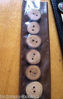 """Vintage Set of  SIX Handmade Wooden Buttons  2-Hole Round 3/4"""" SEWING JEWELRY"""