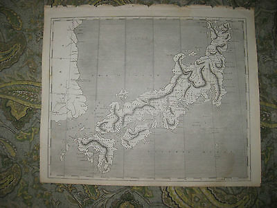 RARE EARLY ANTIQUE 1805 JAPAN ARROWSMITH and LEWIS COPPERPLATE MAP KOREA SUPERB