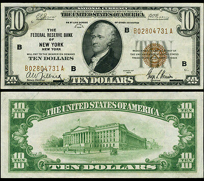 FR. 1860 B $10 1929 Federal Reserve Bank Note New York Extra Fine+