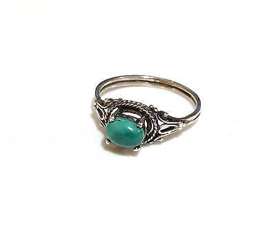 Antique Victorian Ring Sterling Silver Raised Blue Green Stone Size 7.75 Jewelry