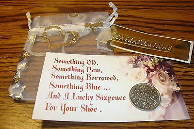 1967 BRITISH LUCKY WEDDING SIXPENCE Keepsake Coin, Organza Pouch + Floral Card