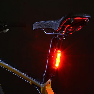 Portable USB Rechargeable Bike Bicycle Tail Rear Back Light Lamps Taillight SalC
