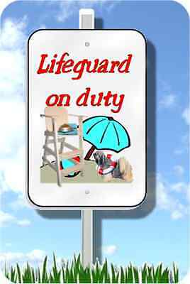 "Tibetan Terrier lifeguard on duty sign metal novelty 8""x12""  pool yard dog"