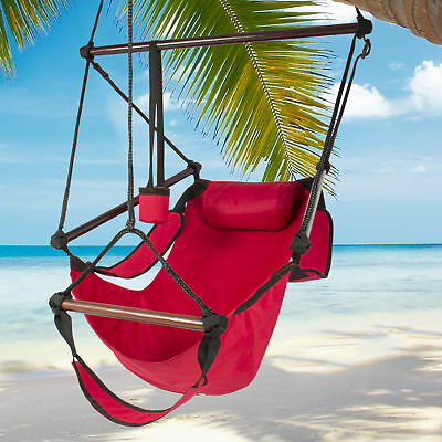 Hammock Hanging Chair Air Deluxe Outdoor Chair Solid Wood 250lb Red