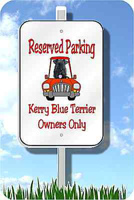 "Kerry Blue Terrier parking sign novelty 8""x12"" metal"
