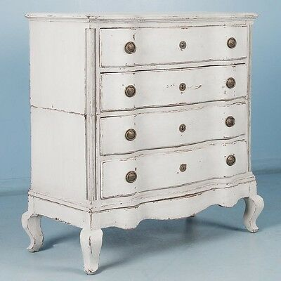 Antique 18th Century Danish Chest of Drawers With Light Gray Paint