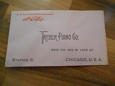 Vtg Antique Advertising Envelope Tryber Piano Co Pianos Chicago Illinois Lake St