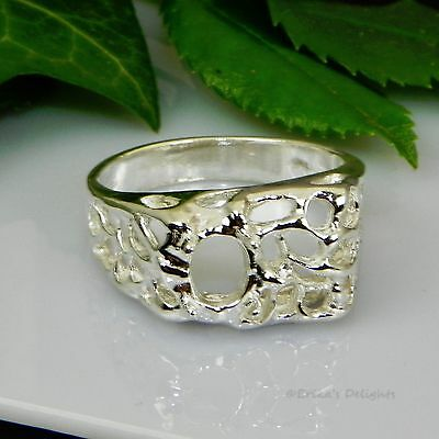 8x6 Oval Mens Mesh Pre-Notched Sterling Silver RING Setting Size 11