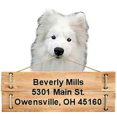 Samoyed return address labels die cut to shape of dog and sign