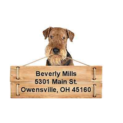 Airedale Terrier return address labels die cut to shape of dog and sign