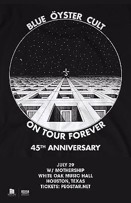 """Blue Oyster Cult """"on Tour Forever 45Th Anniversary"""" 2017 Houston Concert Poster"""