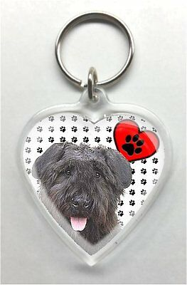Bouvier des Flandres Heart Shaped acrylic Key Ring/chain