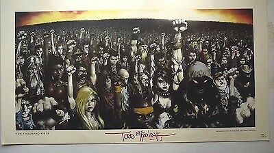 DISTURBED TEN THOUSAND FISTS AUTOGRAPHED NUMBERED LITHO PRINT TODD McFARLANE