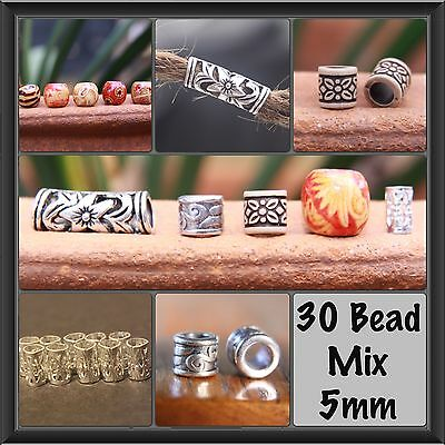 30 5mm Hole (3/16Inch) Dreadlock Bead Mix 5 Wooden 10 Tibetan 10 Metal 5 Acrylic