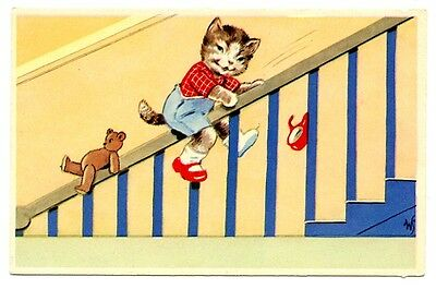 vintage cat postcard dressed boy cat teddy bear slide down banister CAT CHARITY