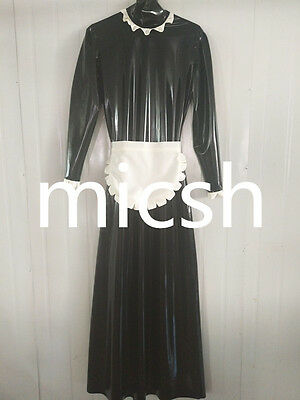 Latex Rubber Gummi Black and White Lace Skirt Maid Long Dress Size XS-2XL