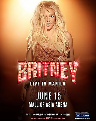 "BRITNEY SPEARS ""LIVE IN MANILA"" 2017 CONCERT TOUR POSTER - Pop, Dance Music"
