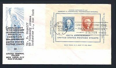 U.S. 948, 1947 Postage Stamp Centenary S/S First Day Cover, Ioor Cachet, F-VF.