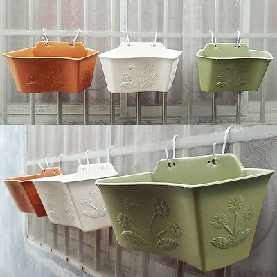 Plastic Wall Hanging Storage Garden Basket Plant Pots Decor With Tray 3 Colors