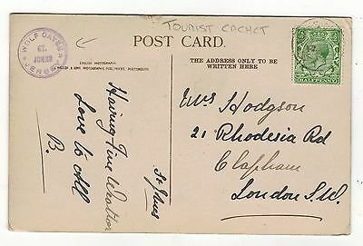 """Jersey """" Wolf Caves"""" Tourist Cachet On .old Printed Postcard"""