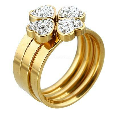 3pcs Women Charm Gold Plated Heart Rhinestone Stainless Steel Ring Set 6 7 8 9
