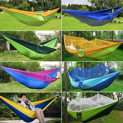 Portable Travel Camping Nylon Fabric Hammock Hanging Bed Sleep Swing Outdoor Bed