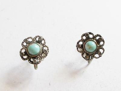 Vintage 1940's Silver Tone Turquoise Blue Lucite Bead Flower Earrings