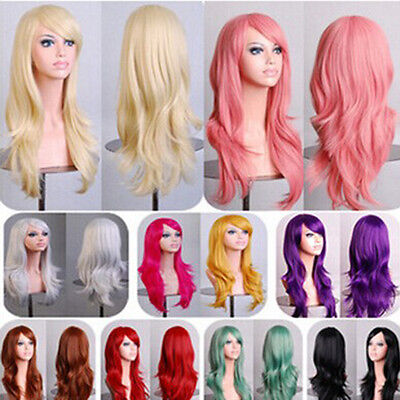 Women's 70cm Full Curly Wigs Cosplay Costume Anime Party Hair Wavy Long Wig Wigs