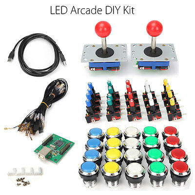 LED Arcade DIY Kit + 2 Joystick + 20 Push Buttons WIth Microswitches USB Encoder