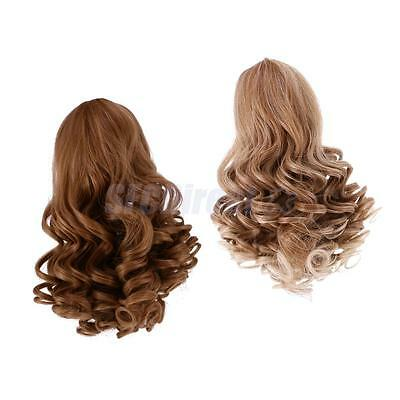 2 Wavy Curly Hair Wig Heat Safe for 18'' American Girl Doll DIY Making #1+#3