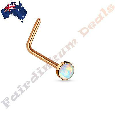 Rose Gold 316 Surgical Steel L Bend Nose Stud Ring with White Opal Set Flat Top