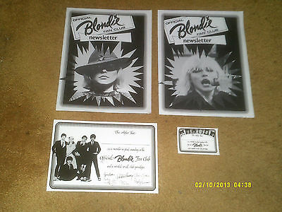 BLONDIE '79 fan club newsletters and membership cards (NM shape)
