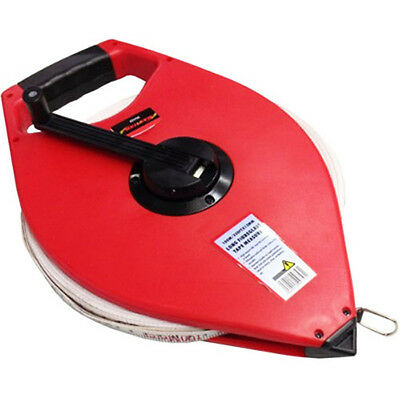 Fibreglass Surveyors 100M Open Reel Tape Measure with Handle - NEW 100 METERS!